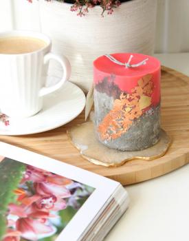 Betona svece - arbūza krāsā